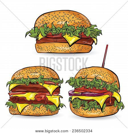 Three Burgers In The Sketch Style On The White Background. Vector Illustration.