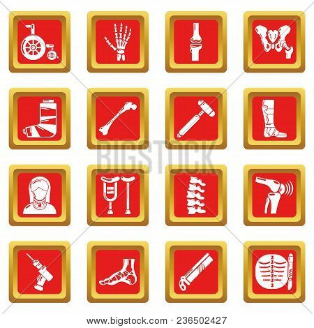 Orthopedist Bone Tools Icons Set Vector Red Square Isolated On White Background
