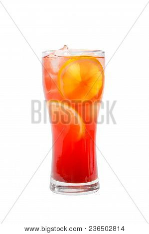 Multicolored, Gradient Opaque Cocktail, Refreshing In A Tall Glass With Ice Cubes, Round Slices Of L