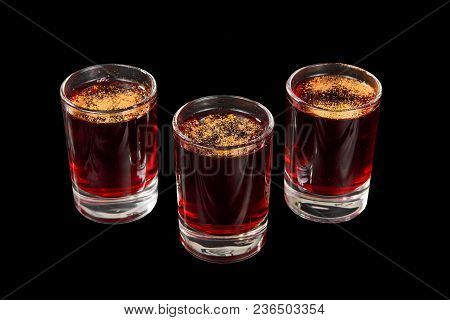 Monochrome Transparent Cocktails, A Set Of Shots Pile, Wedge, Three Servings, With Taste Of Berries,