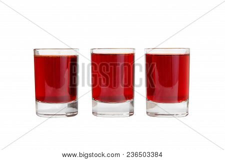 Monochrome Transparent Cocktails, A Set Of Shots In One Row, Three Servings, With A Taste Of Berries