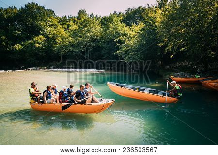 Martvili Canyon, Georgia -  September 14, 2017: Tourists People Rafting In Rubber Boats During Visit