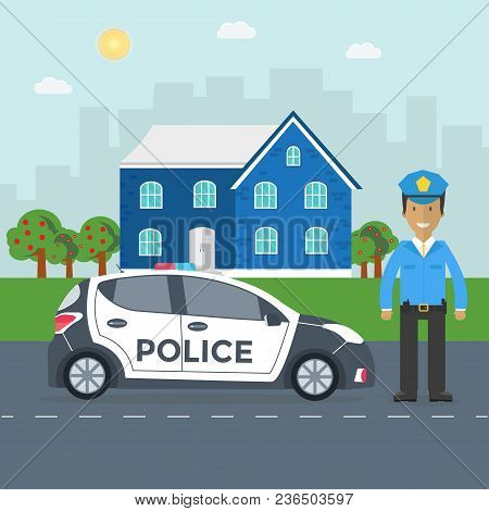 Police Patrol On A Road With Police Car, Officer, House, Nature Landscape. Policeman In Uniform, Veh