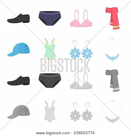 Cap, Earrings, Necklace, Swimsuit. Clothing Set Collection Icons In Cartoon, Monochrome Style Vector