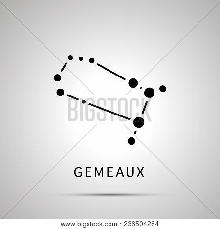 Gemeaux Constellation Simple Black Icon With Shadow On Gray