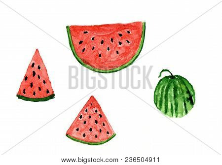 Watercolor Watermelon Painted Paint Painted Different Shapes-quarter, Half And Whole Watermelon. Set