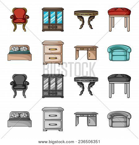 Interior, Design, Bed, Bedroom .furniture And Home Interiorset Collection Icons In Cartoon, Monochro