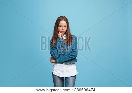 Serious Doubtful, Thoughtful Teen Girl Remembering Something. Young Emotional Woman. Human Emotions,