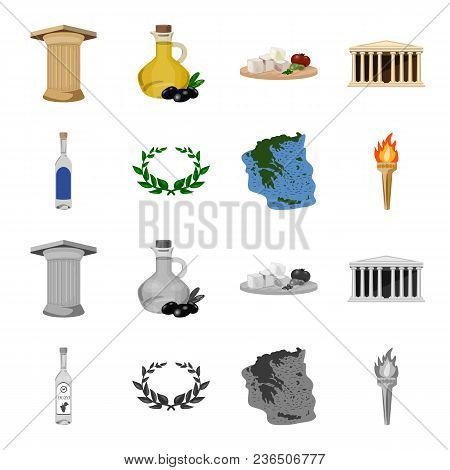 Greece, Country, Tradition, Landmark .greece Set Collection Icons In Cartoon, Monochrome Style Vecto