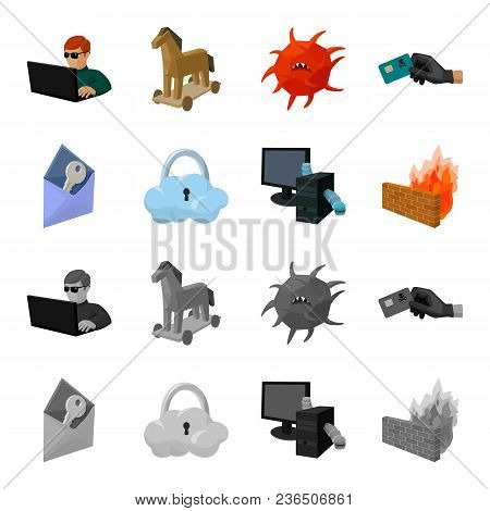 System, Internet, Connection, Code .hackers And Hacking Set Collection Icons In Cartoon, Monochrome