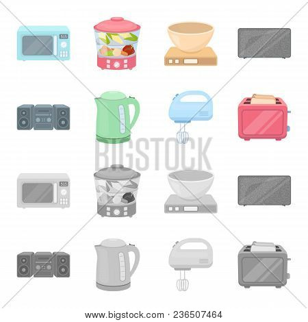 Electric Kettle, Music Center, Mixer, Toaster.household Set Collection Icons In Cartoon, Monochrome
