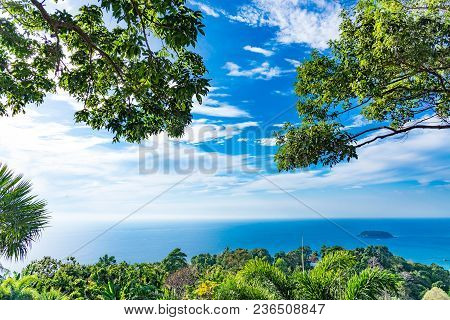 Scenic Forest Wilderness Landscape With Blue Sky Of Phuket National Park With Blue Surface Of West S