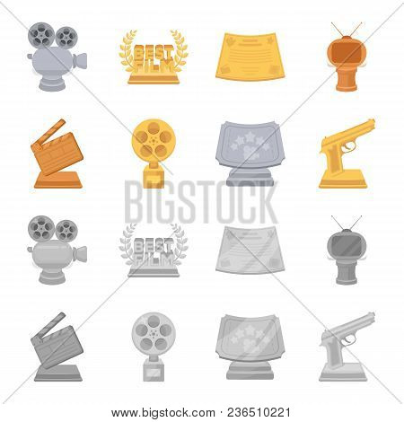 Gold pistol, silver prize for the best supporting role and other prizes.Movie awards set collection icons in cartoon, monochrome style vector symbol stock illustration . poster