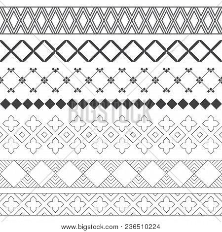 Set Of Vector Geometrical Dividers. Borders For The Text, Invitation Cards, Various Printing Edition