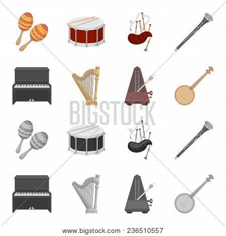 Banjo, Piano, Harp, Metronome. Musical Instruments Set Collection Icons In Cartoon, Monochrome Style
