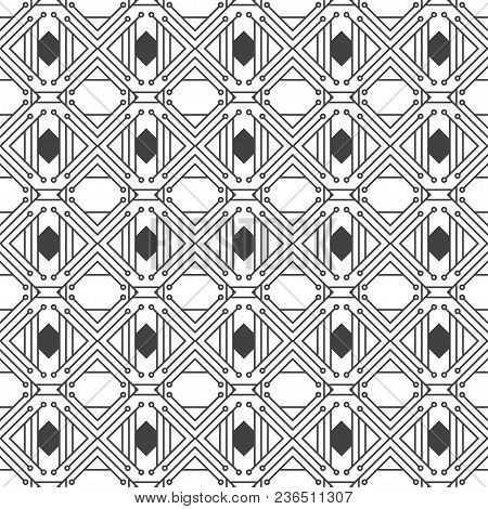 Vector Seamless Pattern. Abstract Geometrical Background. Original Linear Techno Texture With Repeat