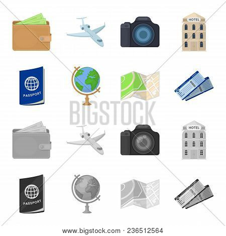 Vacation, Travel, Passport, Globe .rest And Travel Set Collection Icons In Cartoon, Monochrome Style