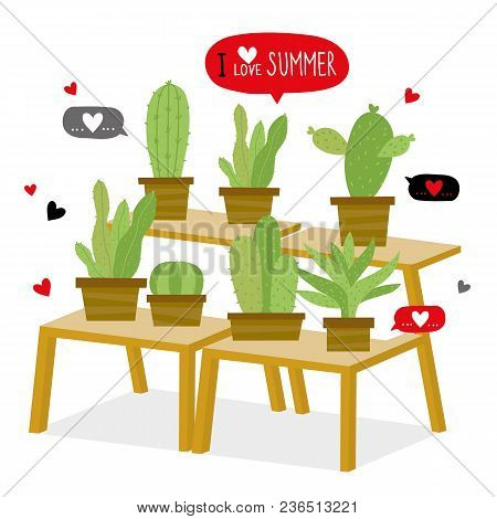 Cactus Icon Flat Design Element Plants Pot Flower Prickle Cartoon Vector