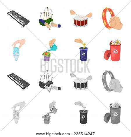 Energy-saving Light Bulb, Watering A Houseplant And Other  Icon In Cartoon, Monochrome Style. Garbag