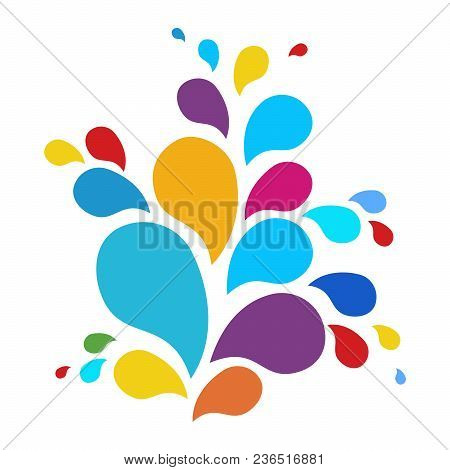 A Fountain Of Drops Of Paint. The Festival Of Colors. Vector Icon Color Fountain. Logo Design Templa
