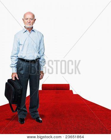 senior on  rolling red carpet