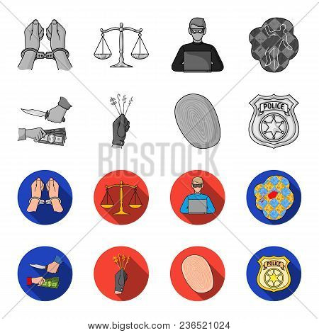 Robbery Attack, Fingerprint, Police Officer Badge, Pickpockets.crime Set Collection Icons In Monochr