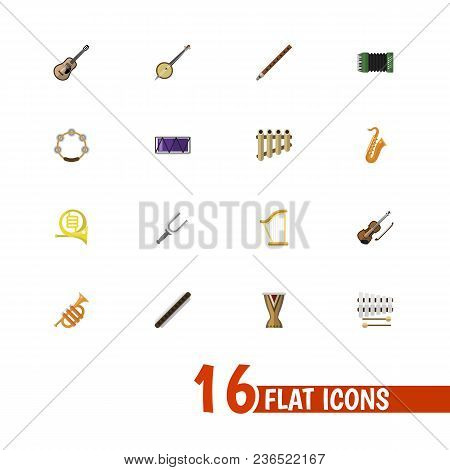 Set Of 16 Editable Music Icons Flat Style. Includes Symbols Such As French Horn, Guitar, Clarinet An
