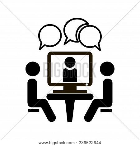 Conference Icon. People Sitting At The Table. Online Video Chat Vector Icon.