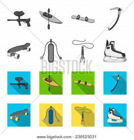 Skateboard, Oxygen Tank For Diving, Jumping, Hockey Skate.extreme Sport Set Collection Icons In Mono