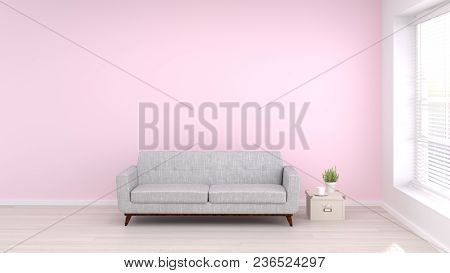 Sofa In Empty Room Living Room Interior Background,3d Rendering Empty Wall And  Copy Space Interior