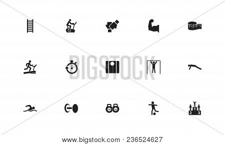 Set Of 15 Editable Sport Icons. Includes Symbols Such As Measure Tape, Man On Treadmill, Push Up And