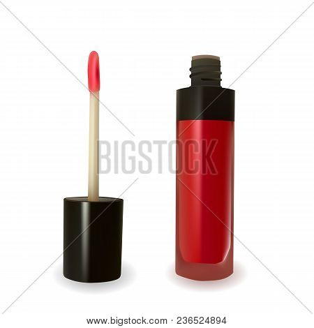 Red Lip Gloss On White Background. Beauty Industry. Decorative Cosmetic. Vector Illustration.