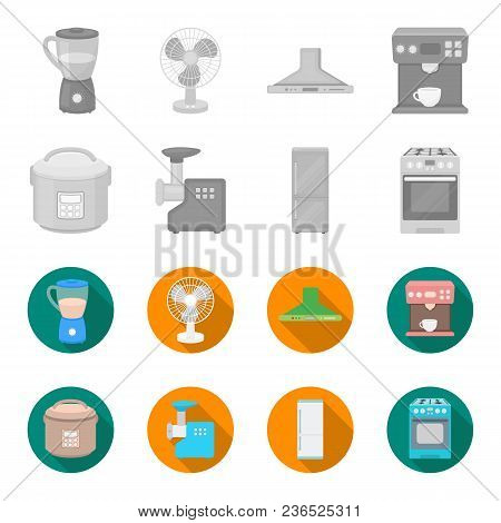Multivarka, Refrigerator, Meat Grinder, Gas Stove.household Set Collection Icons In Monochrome, Flat