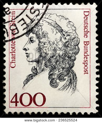 Luga, Russia - February 08, 2018: A Stamp Printed By Germany Shows Charlotte Von Stein Lady-in-waiti