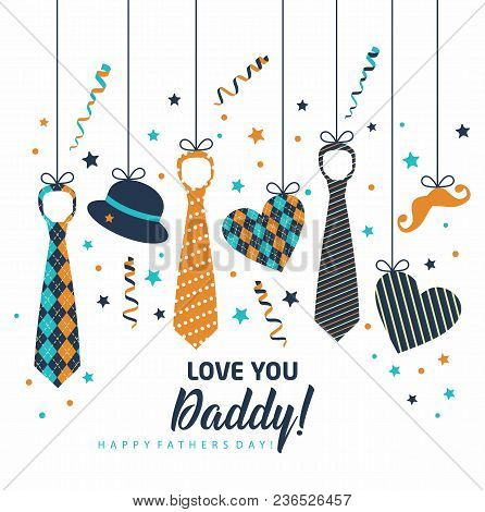 Happy Father S Day, Holiday Card With Ties.