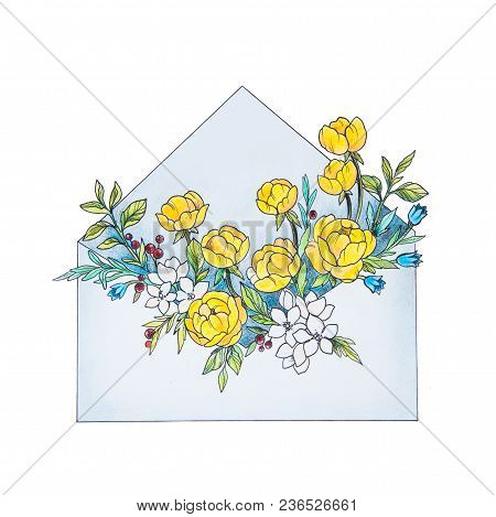Sketch Letter With Flowers On White Background. The Envelope.