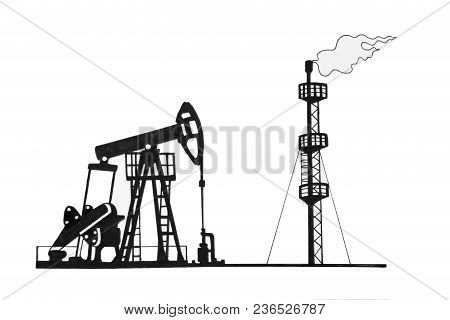 Set Of Sketches Of Oil Production. Mining Infrastructure.