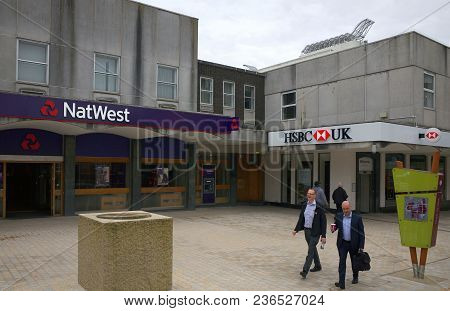 Bracknell, England - April 17, 2018: Pedestrians Passing By Adjoining Branches Of The National Westm
