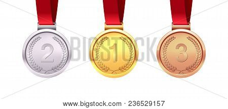 A Set Of Gold, Silver And Bronze Medals. Medal Winners. Isolated On White Background. Vector Illustr