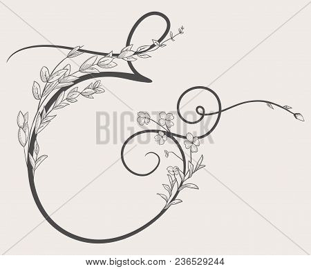 Vector Hand Drawn Flowered Ampersand Monogram Or Logo. Uppercase Ampersand With Flowers And Branches