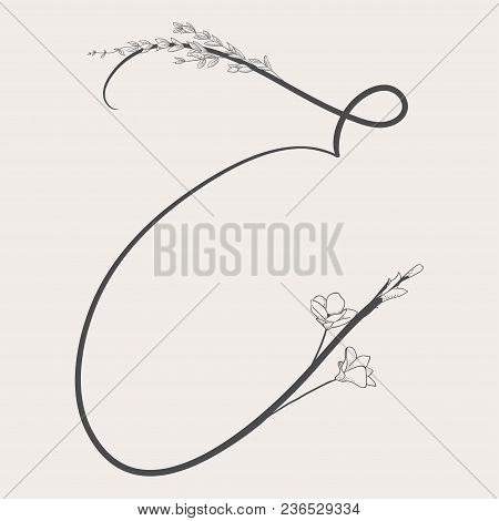 Vector Hand Drawn Flowered E Monogram Or Logo. Uppercase Letter E With Flowers And Branches. Handwri