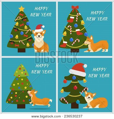 Happy New Year Banners Set With Tree Decorated By Hat Of Santa Claus, Garlands And Bows With Bells,