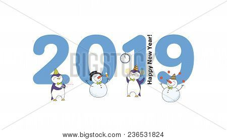 Hand Drawn New Year 2019 Greeting Card, Banner Template With Big Numbers, Cute Funny Cartoon Penguin