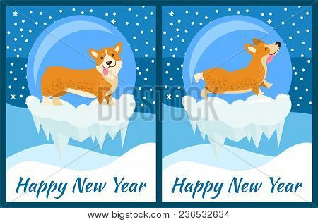 Happy New Year Corgi Symbol Of Chinese Horoscope Sign Vector Illustration Postcard With Cute Dog Pup