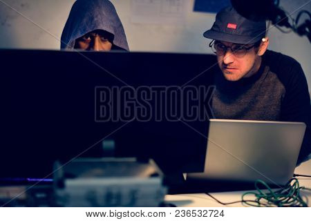 Hacker hacking stealing password on the internet