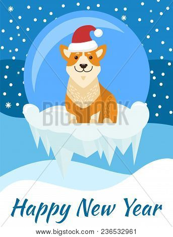 Happy New Year Poster With Beige Dog In Santa Hat Standing On Ice Clief On Background Of Glass Ball
