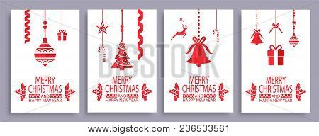 Merry Christmas And Happy New Year Festive Symbols On White Background. Vector Illustration With Lol