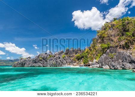 View of Coron Island beach, Philippines. Coron Island is a wedge-shaped limestone island in the province of Palawan.