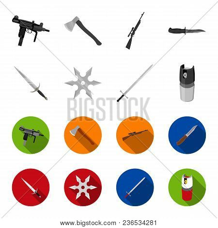 Sword, Two-handed Sword, Gas Balloon, Shuriken. Weapons Set Collection Icons In Monochrome, Flat Sty