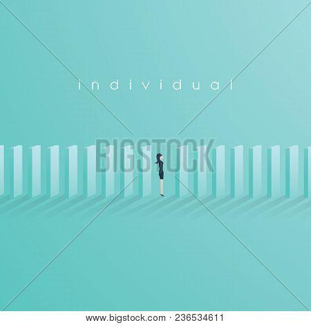 Businesswoman Standing Between Domino. Business Domino Effect Vector Concept. Eps10 Vector Illustrat